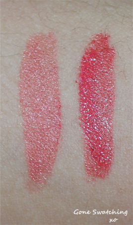 Left to Right - Light and heavy swatches of Berry pink