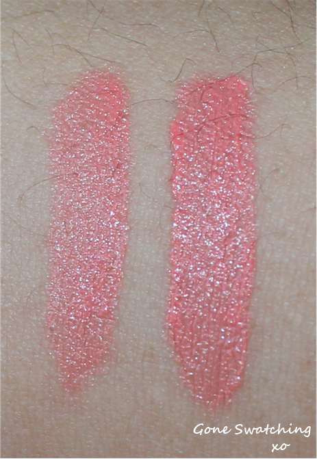 Left to Right - Light and heavy swatches of Coral
