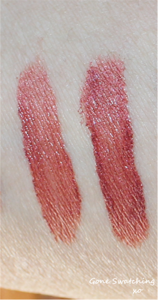 Left to Right - Light and heavy swatches of Deep red