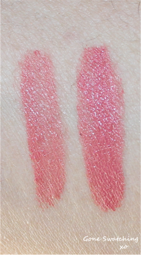 Left to Right - Light and heavy swatches of Dusty pink