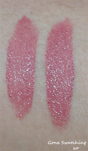 Left to Right - Light and heavy swatches of Natural pink