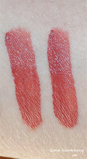 Left to Right - Light and heavy swatches of Natural red
