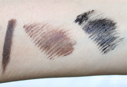 Eyeliner swatch is on the left