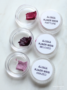 Kjaer Weis Lip Tints Swatches - Rapture, Beloved and Amazed. Gone Swatching xo
