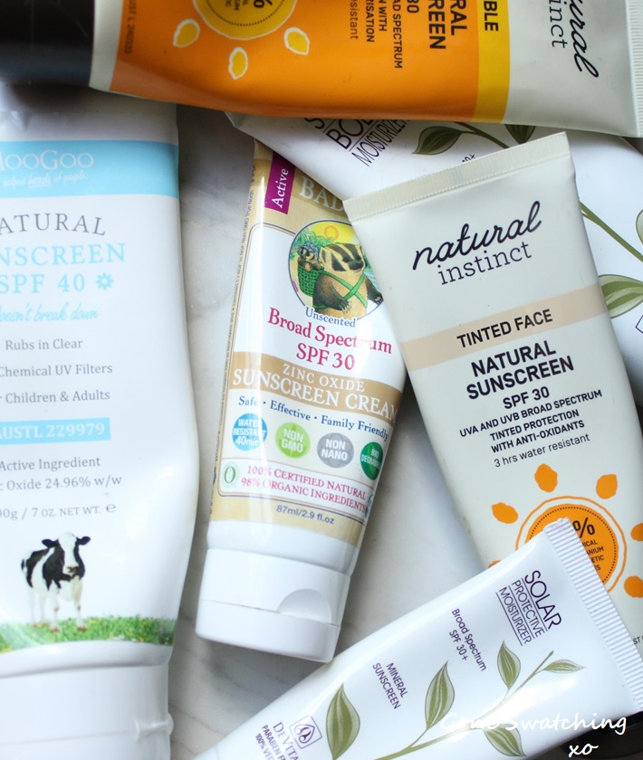 Natural Sunscreen Review - MooGoo, Badger, Natural Instinct and DeVita. Gone Swatching xo