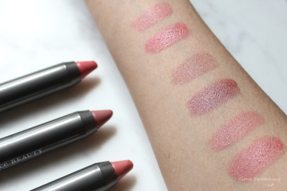 Juice-Beauty-Luminous-Lip-Crayon-Swatches.-Malibu,-Laguna-and-Pebble.-Gone-Swatching-xo