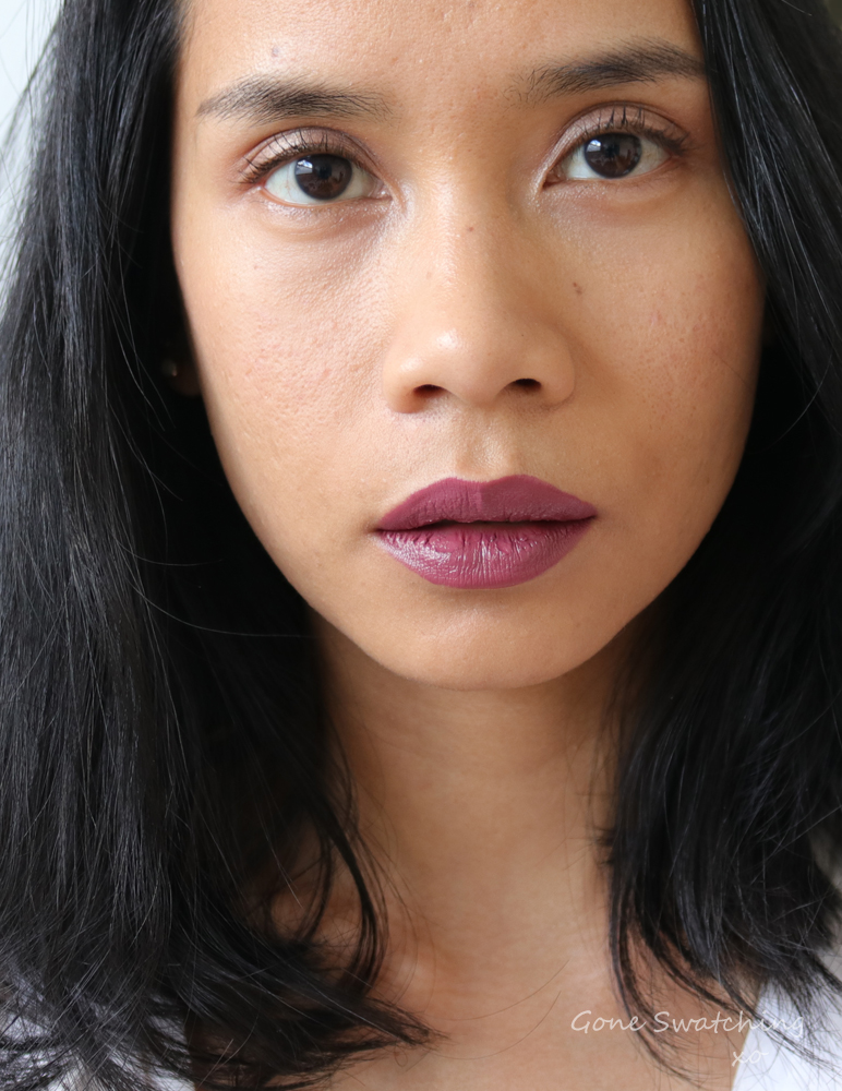 Noyah Lipstick. Deeply in Mauve lip swatch. Gone Swatching xo