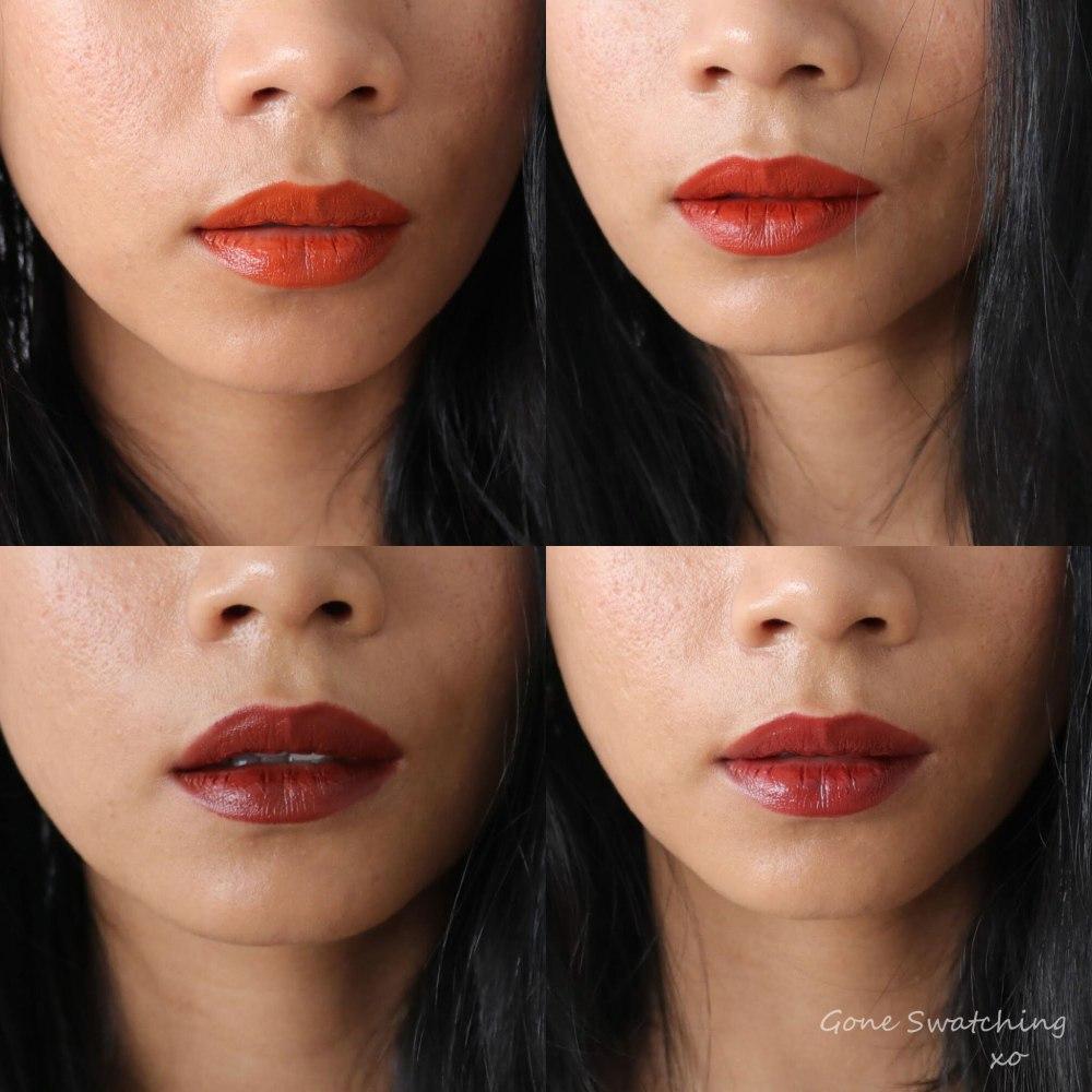 Beautifek Lipstick Review and Swatches. Amber, Coral, Garnet, Ruby. Vegan, mica & titanium dioxide free. Gone Swatching xo