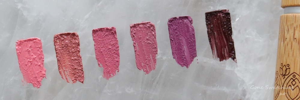 Elate Cosmetics Creme lipstick review & Swatches. Bloom, Chance, Blush, Adore, Wild & Demure. Gone Swatching xo