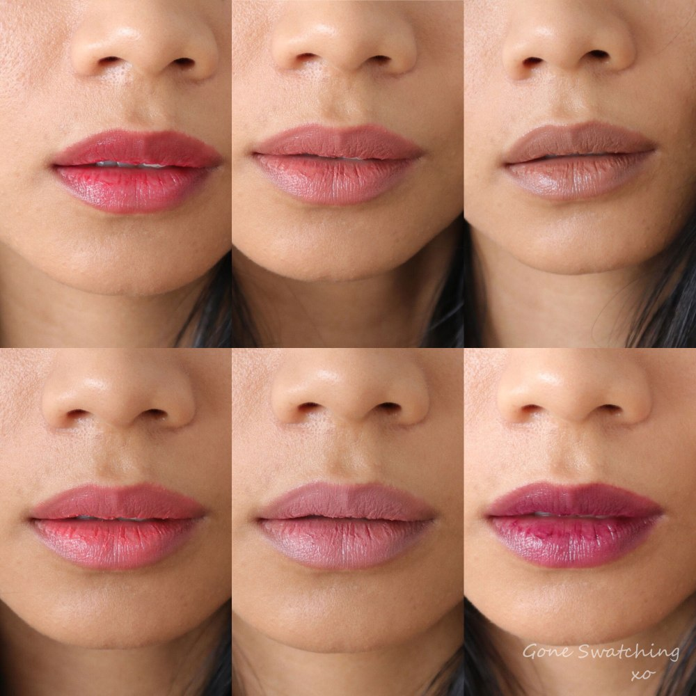 Ere Perez Natural Cacao Lip Colours. Entire Collection swatched on Asian skin by Green Beauty Blogger Gone Swatching xo
