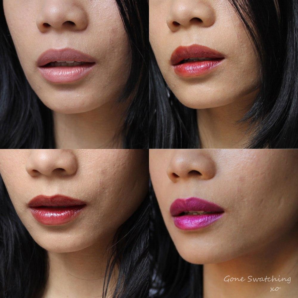 Gressa Lip Boost Bare, Radient, Regal & Lavish. Gone Swatching xo