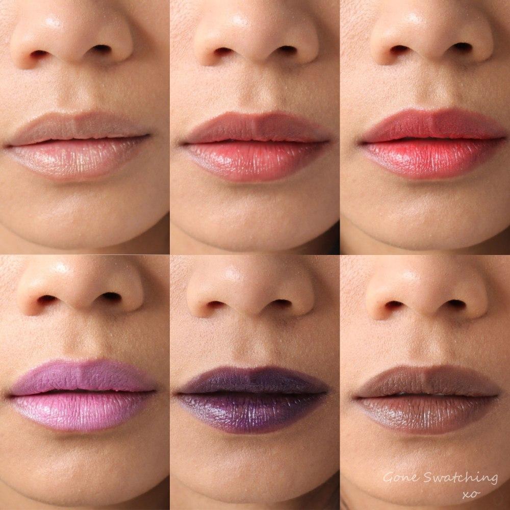 Gressa Lip Boost swatches on Asian Skin. Brilliant, Aux Rouge, Jolie, Faris, Dahlia & Belia