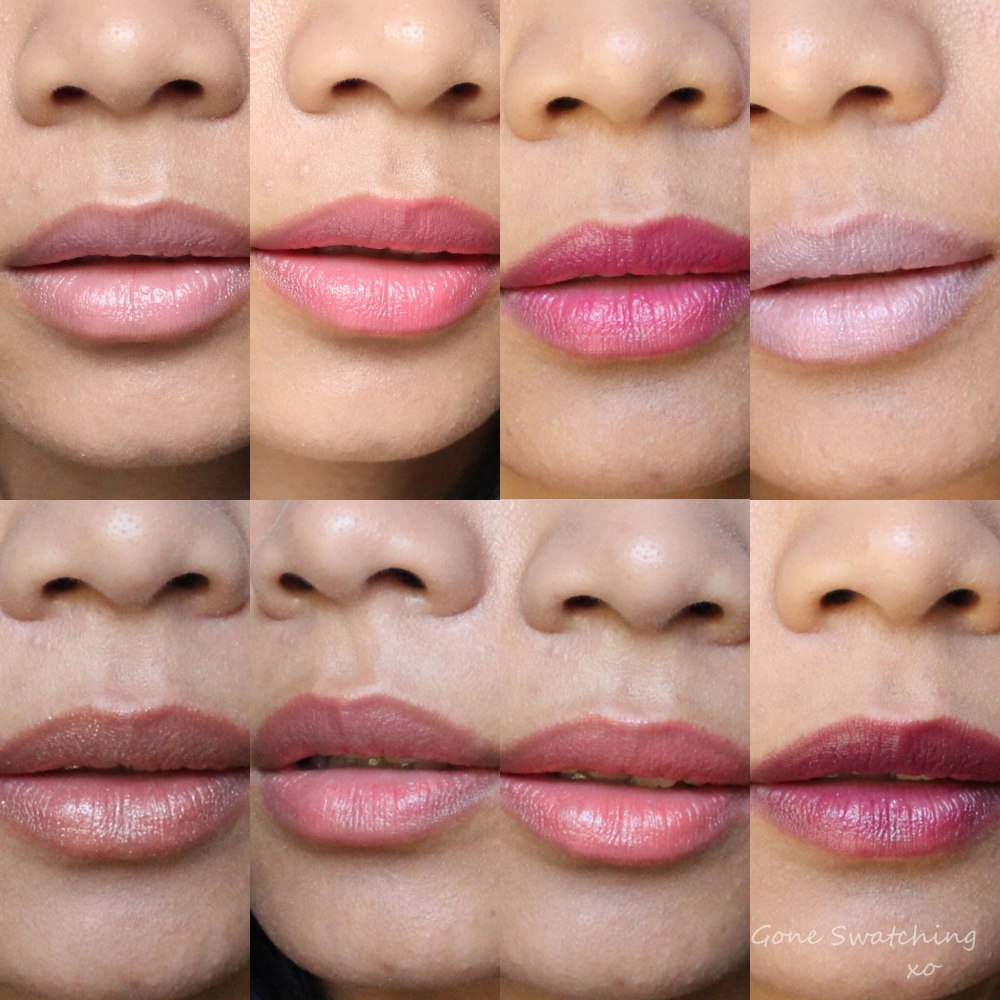 Kjaer Weis Lip Tint Swatches. Amazed, Beloved, Blissful, Captivate, Passionate, Rapture, Romance, Sweetness. Gone Swatching xo