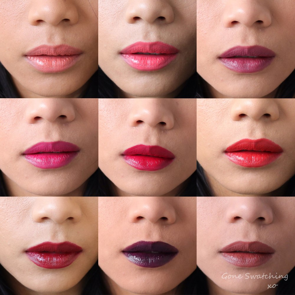 Nu Evolution Lipstick swatches Entire Collection on asian skin. Gone Swatching xo