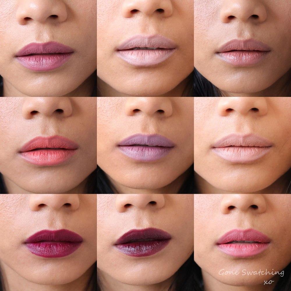 Nui Cosmetics Lipstick Swatches. Kura, Amiria, Tempora, Pania, Emere, Tahnee, Ruiha, Nyree, Tiare. Gone Swatching xo