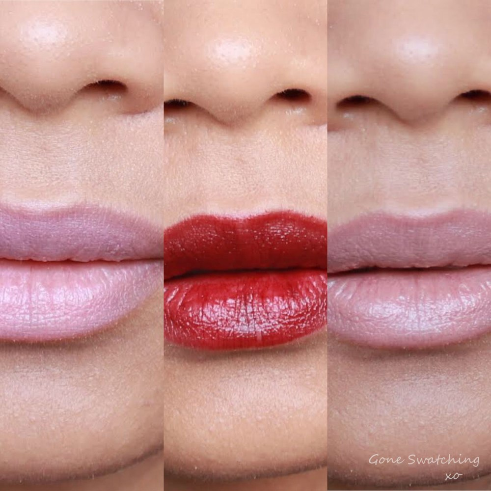 RMS Beauty Lip2Cheek swatches. Demure, Diabolique & Spell. Gone Swatching xo
