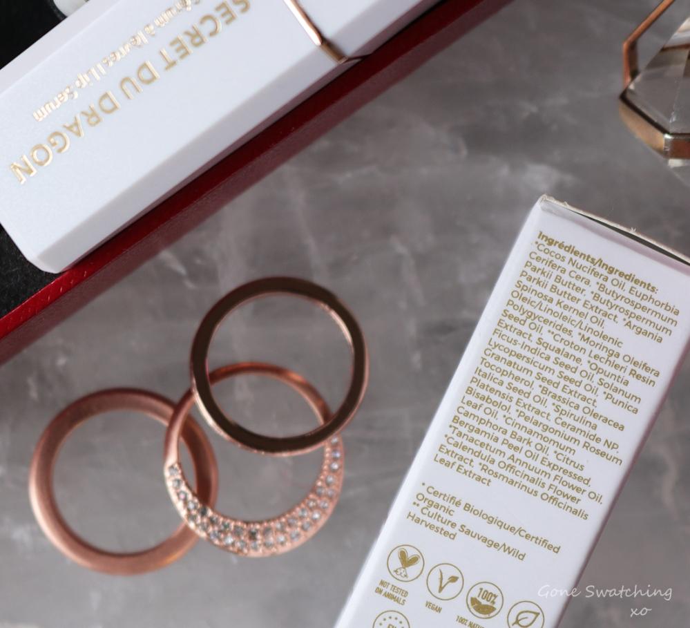 Okoko Cosmetiques Skincare Review. Secret Du Dragon-Moisturising Renewal Lip Serum. Gone Swatching xo