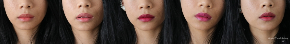 Ilia Beauty Tinted Lip Conditioner Swatches. In Paradise, Shell Shock, Pink Moon, Jump, Bang Bang. Gone Swatching xo