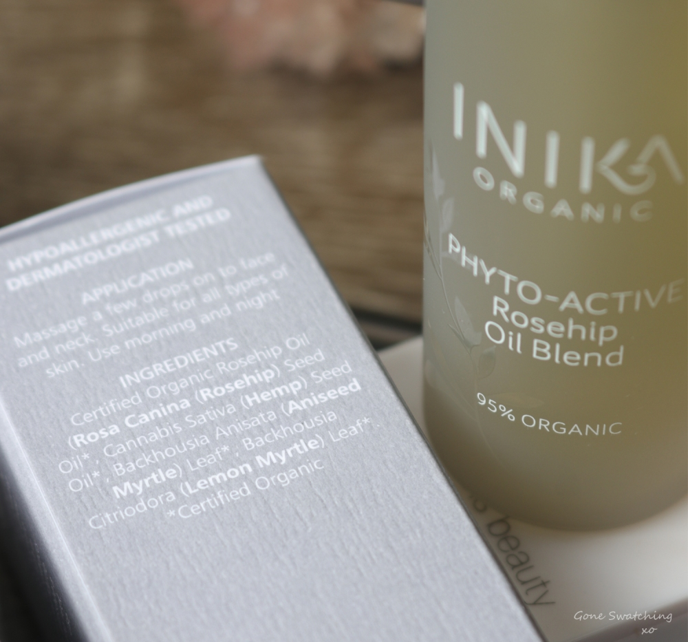 Inika Organic Skincare Review. Phyto-Active Rosehip Oil Blend ingredients. Gone Swatching xo
