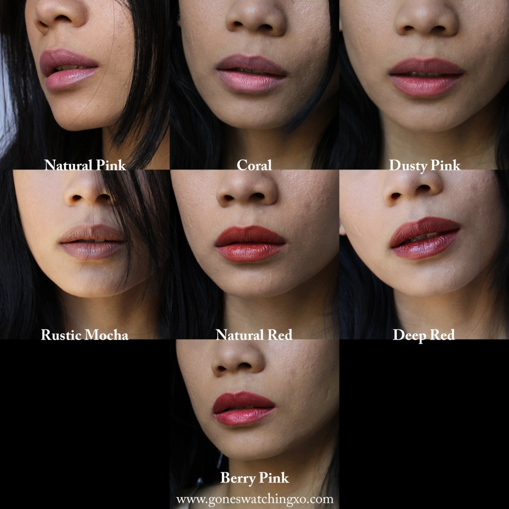 Adorn Cosmetics Natural Lipstick Swatches. Natural Pink, Coral, Dusty Pink, Rustic Mocha, Natural Red, Deep Red, Berry Pink. Gone Swatching xo