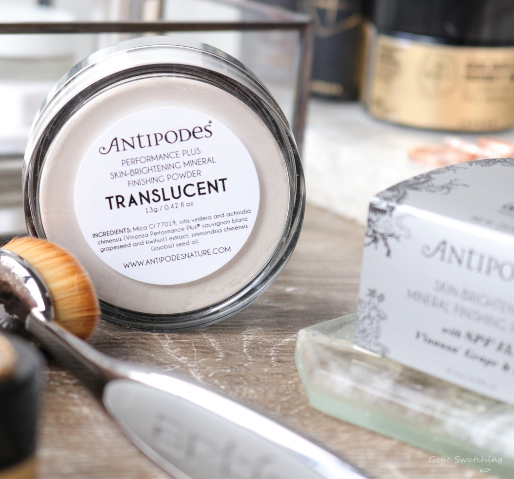 Antipodes Performance Plus Skin-Brightening Mineral Finishing Powder Review Ingredients. Gone Swatching xo