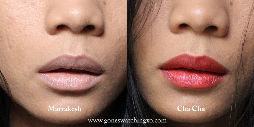 Au Naturale Eternity Lipstick Swatches. Marrakesh & Cha Cha. Australian Organic Beauty Blogger Gone Swatching xo