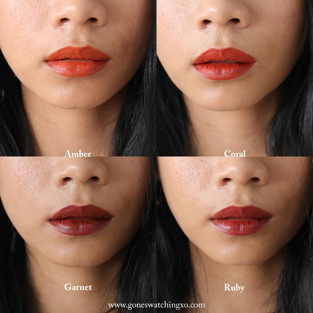 Beautifek Titanium dioxide & mica free Lipstick Swatches. Amber, Coral, Garnet & Ruby. Australian Organic Beauty Blogger Gone Swatching xo