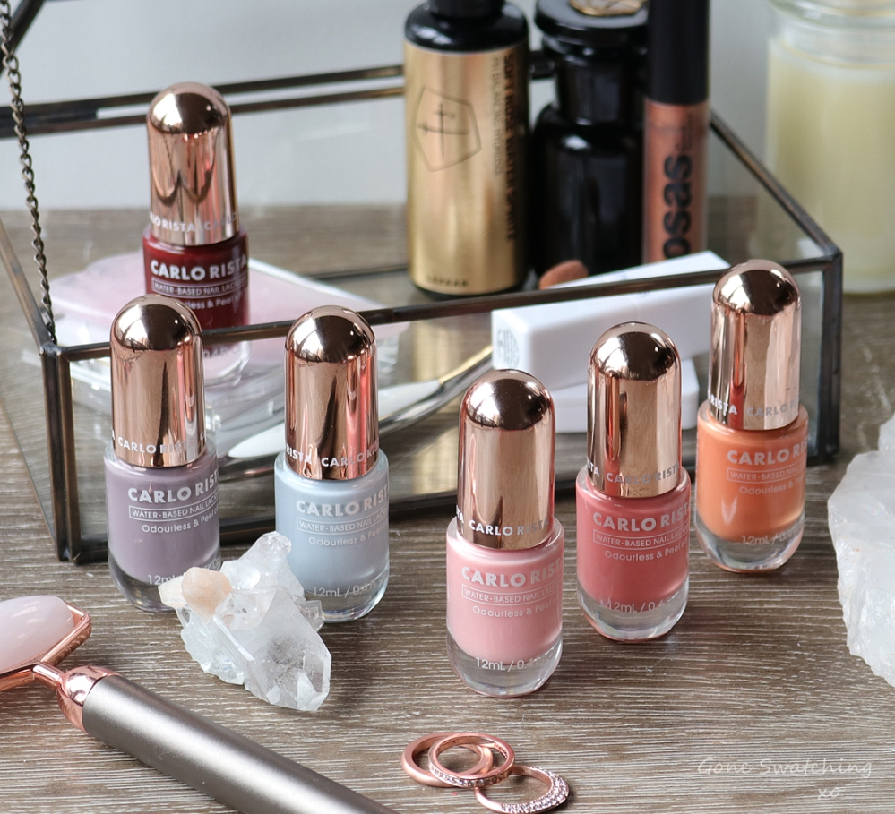 Carlo Rista Water Based, Odourless, Peelable Nail Polish review. 18, 11, 12, 17 & 03. Gone Swatching xo