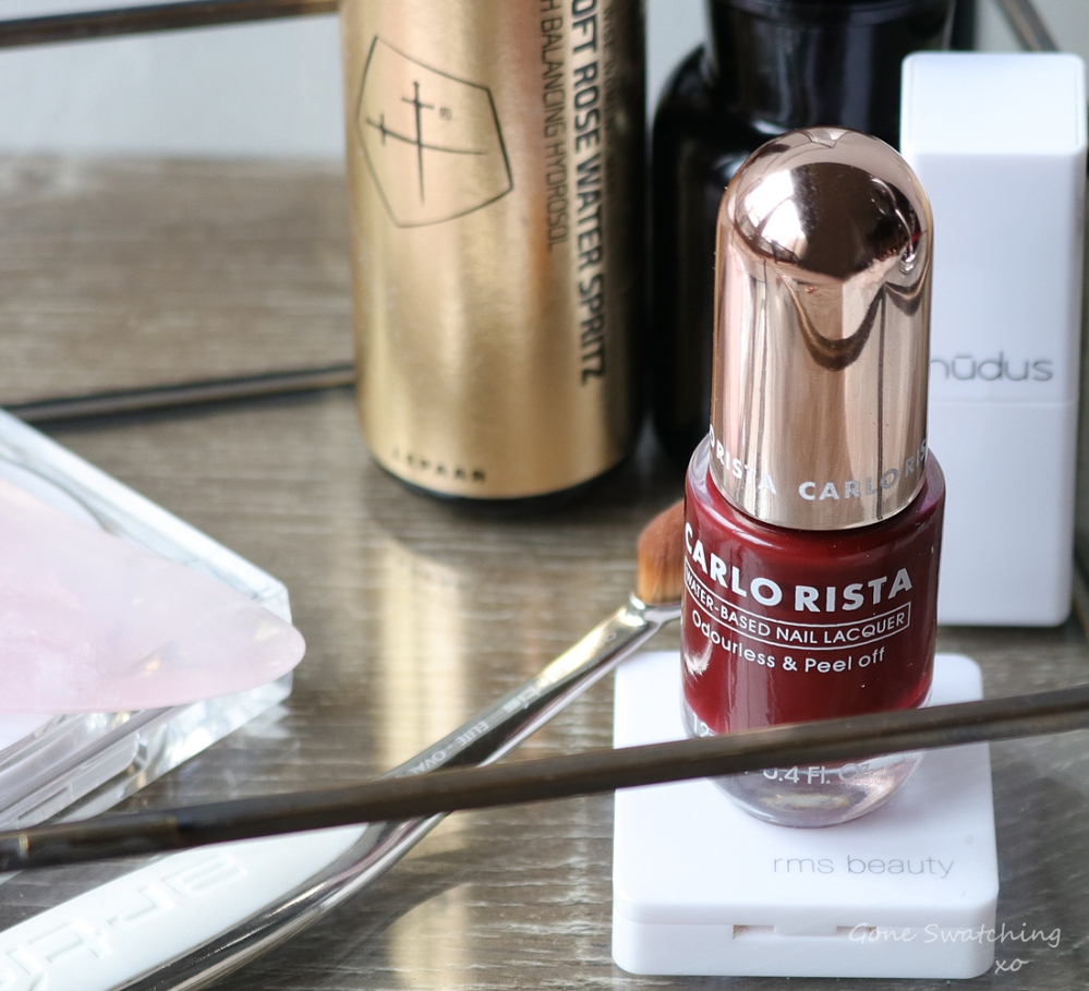 Carlo Rista Water Based Peelable, Odourless Nail Polish review. Brick Red. Gone Swatching xo