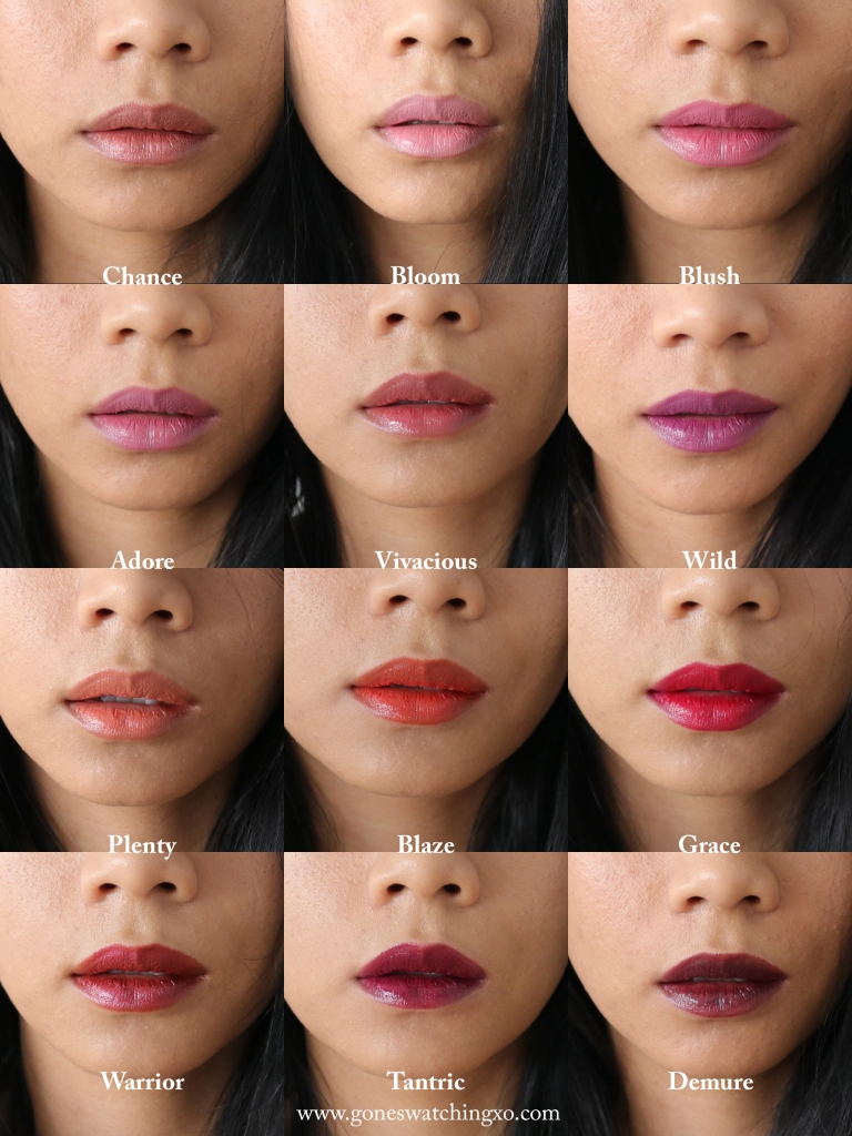 Elate Cosmetics Lipstick Swatches. Chance, Bloom, Blush, Adore, Vivacious, Wild, Plenty, Blaze, Grace, Warrior, Tantric & Demure. Gone Swatching xo