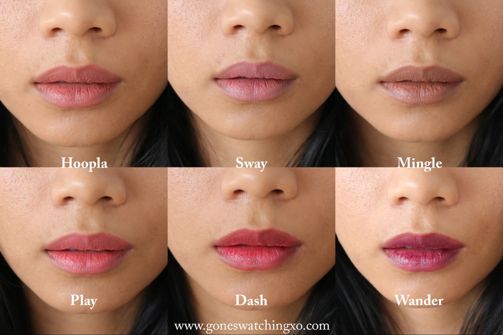Ere Perez Natural Lipstick Swatches. Hoopla, Sway, Mingle, Play, Dash & Wander. Australian Organic Beauty Blogger Gone Swatching xo