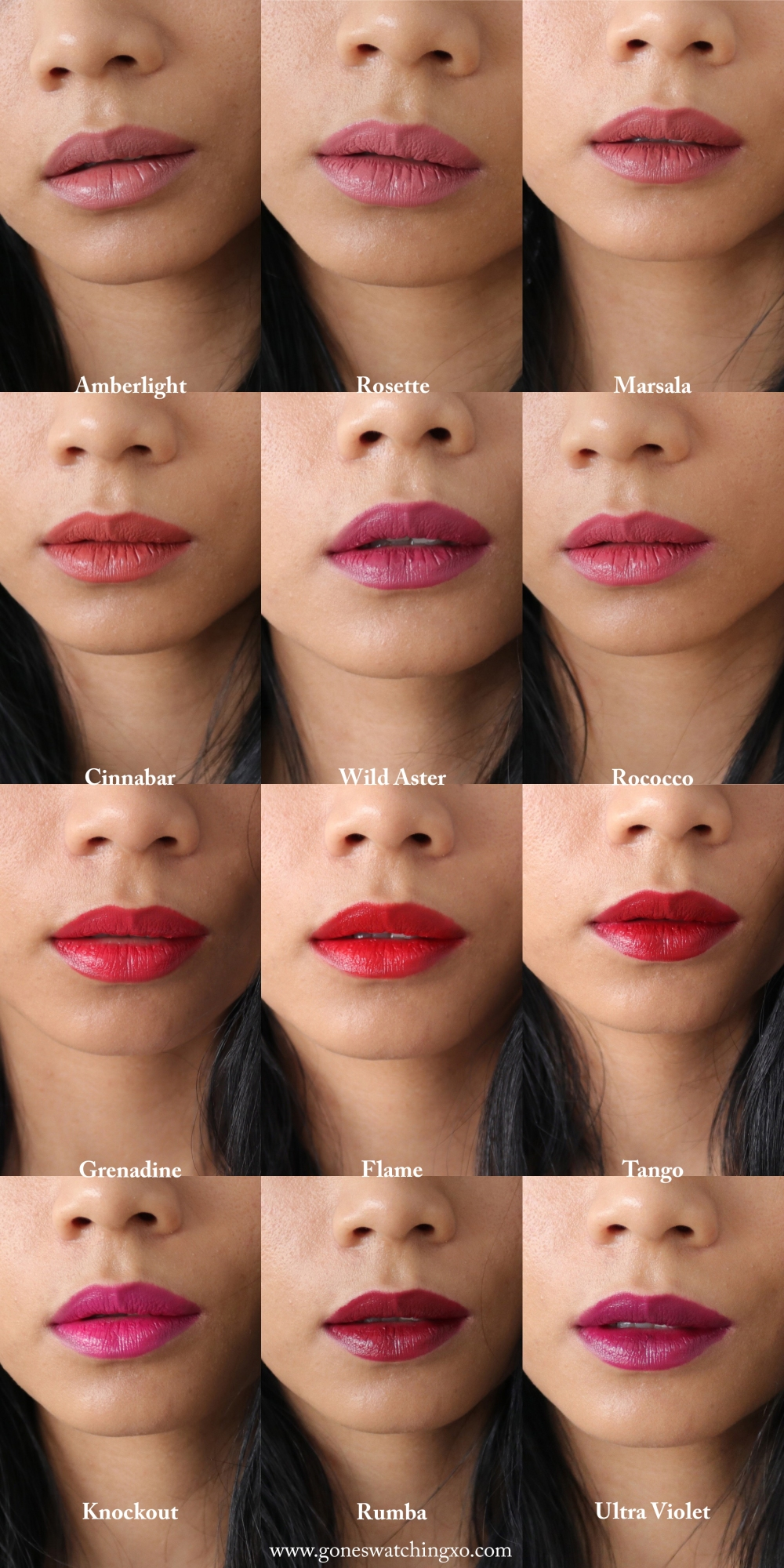Ilia Beauty Lipstick Swatches. Amberlight, Rosette, Marsala, Cinnabar, Wild Aster, Rococco, Grenadine, Flame, Tango, Knockout, Rumba & Ultra Violet. Blogger Gone Swatching xo