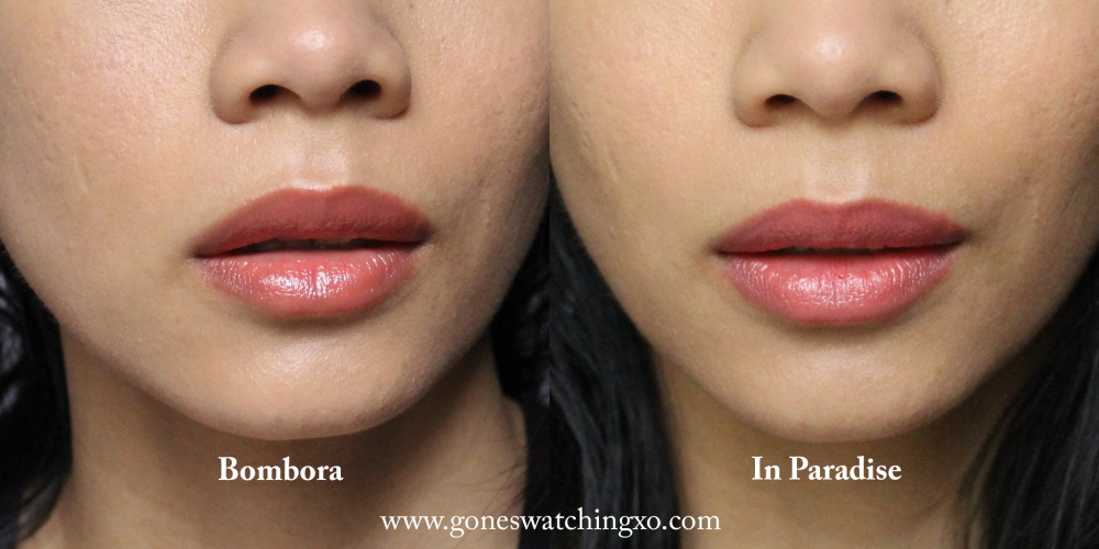 Ilia Beauty SPF Tinted Lip Conditioner Lipstick Swatches. Bombora & In Paradise. Blogger Gone Swatching xo