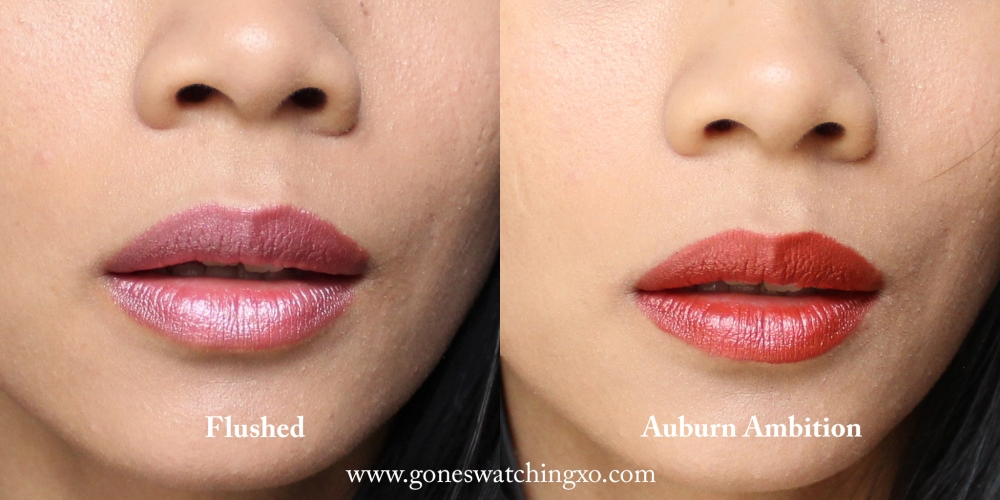Inika Organic Lipstick Swatches. Flushed & Auburn Ambition. Australian Organic Beauty Blogger Gone Swatching xo