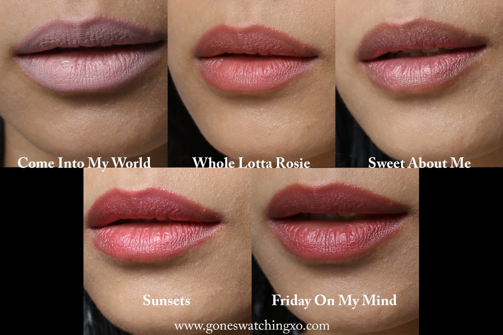 Neek Skin Organics Lipstick Swatches. Come Into My World, Whole Lotta Rosie, Sweet About Me, Sunsets & Friday on My Mind. Australian Organic Beauty Blogger Gone Swatching xo