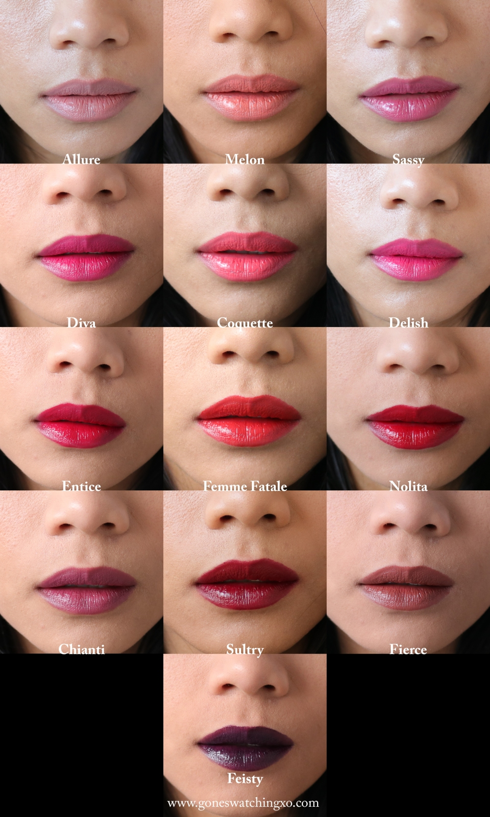 Nu Evolution Lipstick Swatches. Allure, Melon, Sassy, Diva, Coquette, Delish, Entice, Femme Fatale, Nolita, Chianti, Sultry, Fierce & Feisty. Blogger Gone Swatching xo