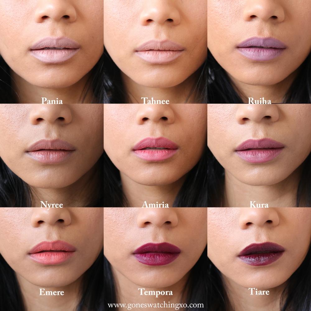 Nui Lipstick Swatches. Pania, Tahnee, Ruiha, Nyree, Amiria, Kura, Emere, Tempora & Tiare. Australian Organic Beauty Blogger Gone Swatching xo