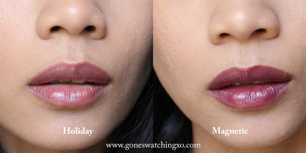 Vapour Beauty Siren Lipstick Swatches. Holiday & Magnetic. Australian Organic Beauty Blogger Gone Swatching xo