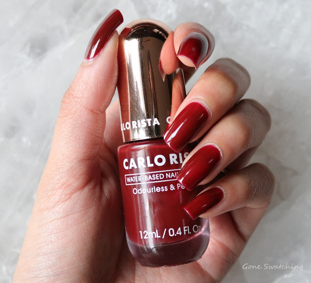 Carlo Rista Water Based Peelable, Odourless Nail Polish review & Swatches. Brick Red 03. Australian, Asian Green Beauty Blogger Gone Swatching xo