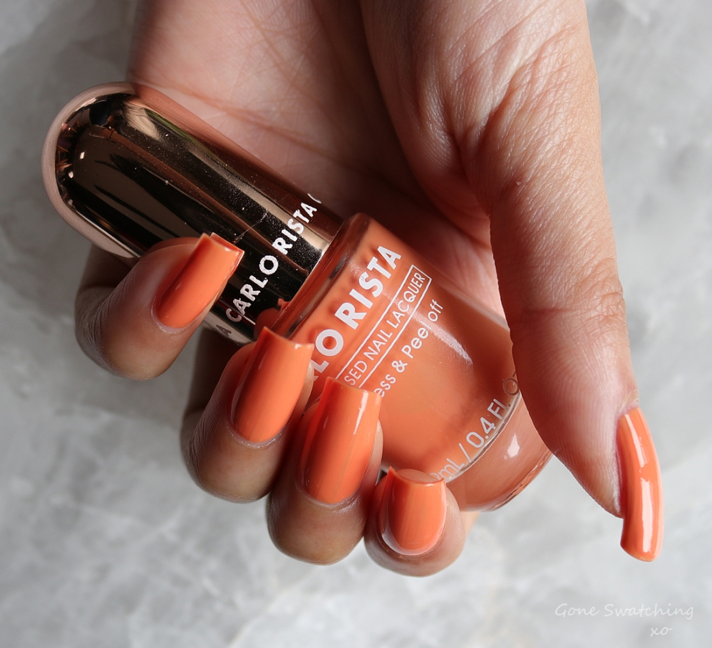 Carlo Rista Water Based Peelable, Odourless Nail Polish review & Swatches. Light Orange 12. Australian, Asian Green Beauty Blogger Gone Swatching xo