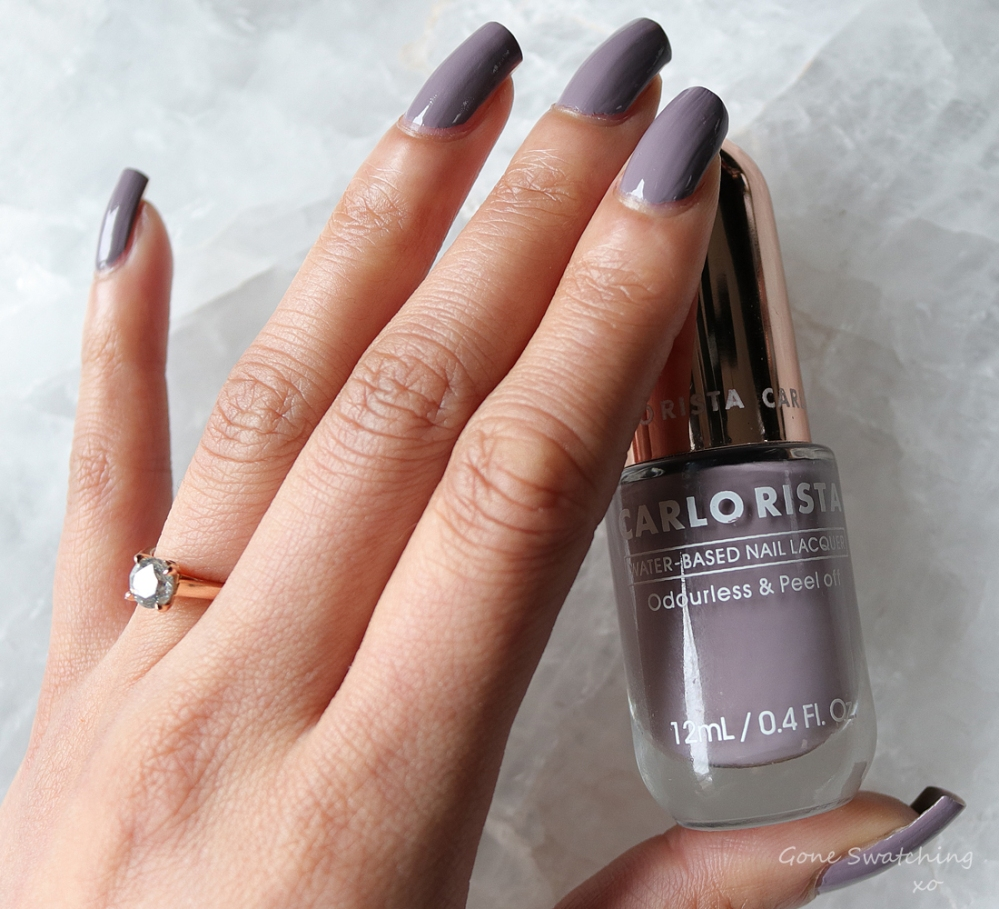 Carlo Rista Water Based Peelable, Odourless Nail Polish review & Swatches. Light Slte Grey 17. Australian, Asian Green Beauty Blogger Gone Swatching xo