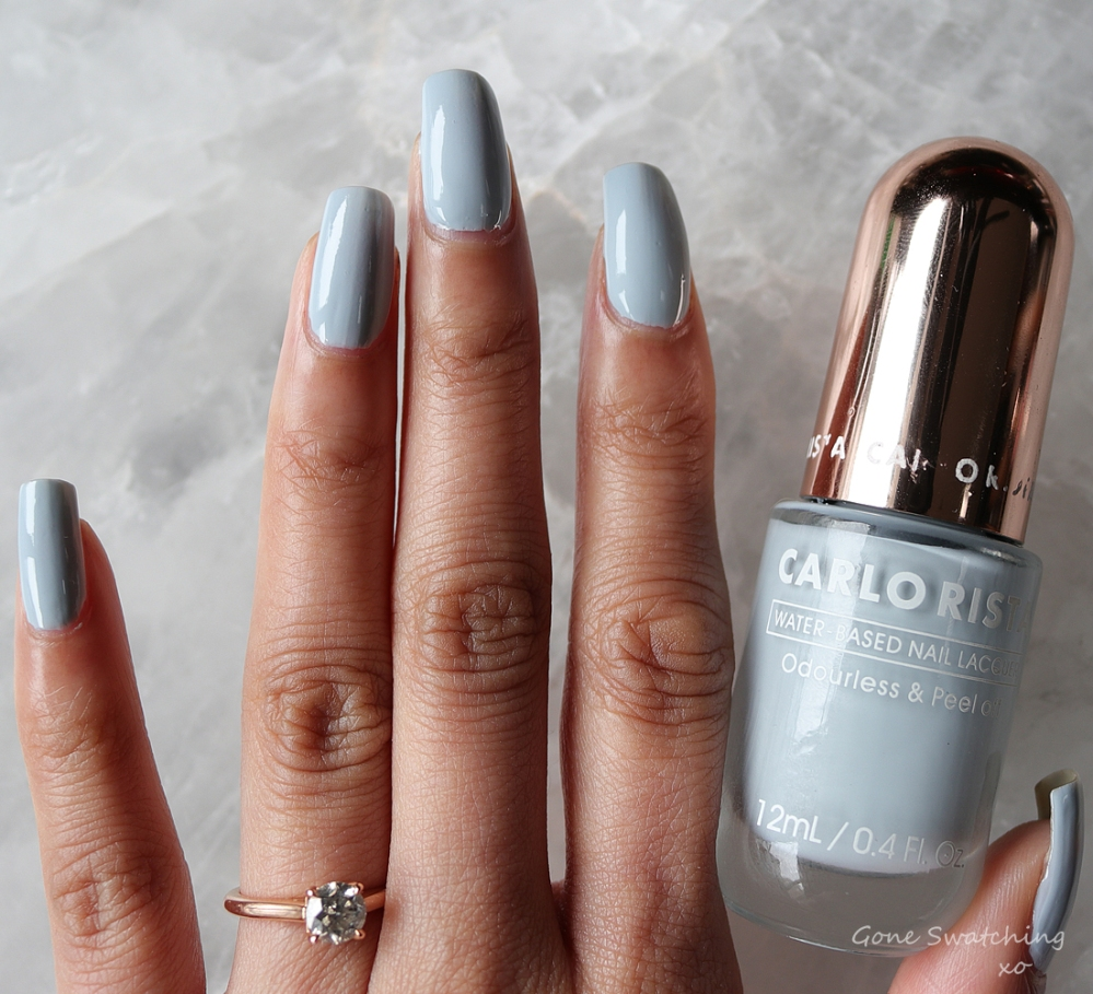 Carlo Rista Water Based Peelable, Odourless Nail Polish review & Swatches. Light Steel Blue 16. Australian, Asian Green Beauty Blogger Gone Swatching xo