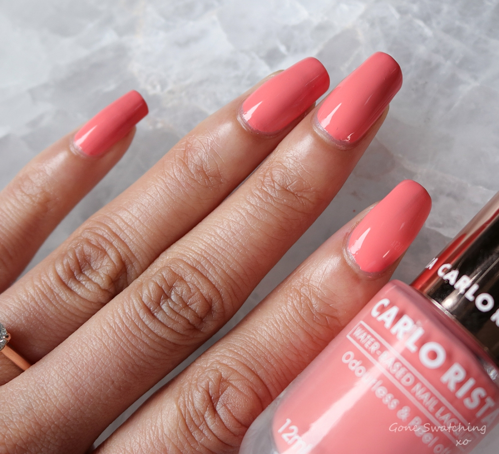 Carlo Rista Water Based Peelable, Odourless Nail Polish review & Swatches. Salmon Pink 11. Australian, Asian Green Beauty Blogger Gone Swatching xo
