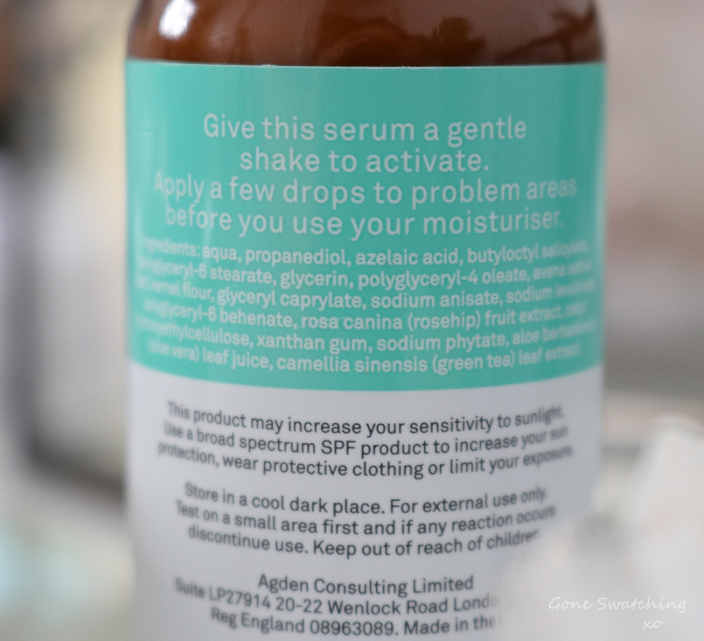 Facetheory Skincare Review. Azeclear Azelaic Acid Serum A15, Ingredients. Green Beauty Blogger Gone Swatching xo