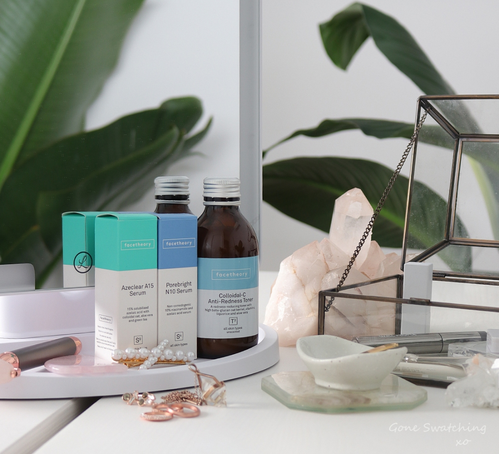 Facetheory Skincare Review. Azeclear Azelaic Acid Serum, Colloidal-C Anti-Redness Toner & Porebright Serum. Gone Swatching xo