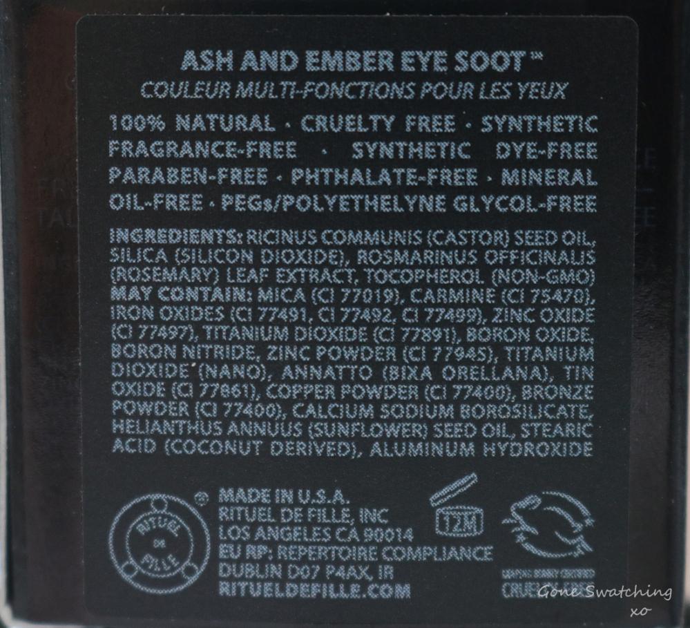 Rituel de Fille Ash & Ember Eye Soot Review & Swatches. Divinus, Sigil & Half Light Ingredients. Australian Green, Natural Beauty Blogger Gone Swatching xo