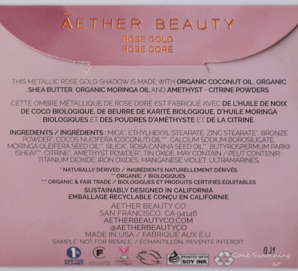 Athr Beauty Sustainable & Low Waste Beauty. Rose Gold Eyeshadow Swatches, Review & Ingredients. Gone Swatching xo