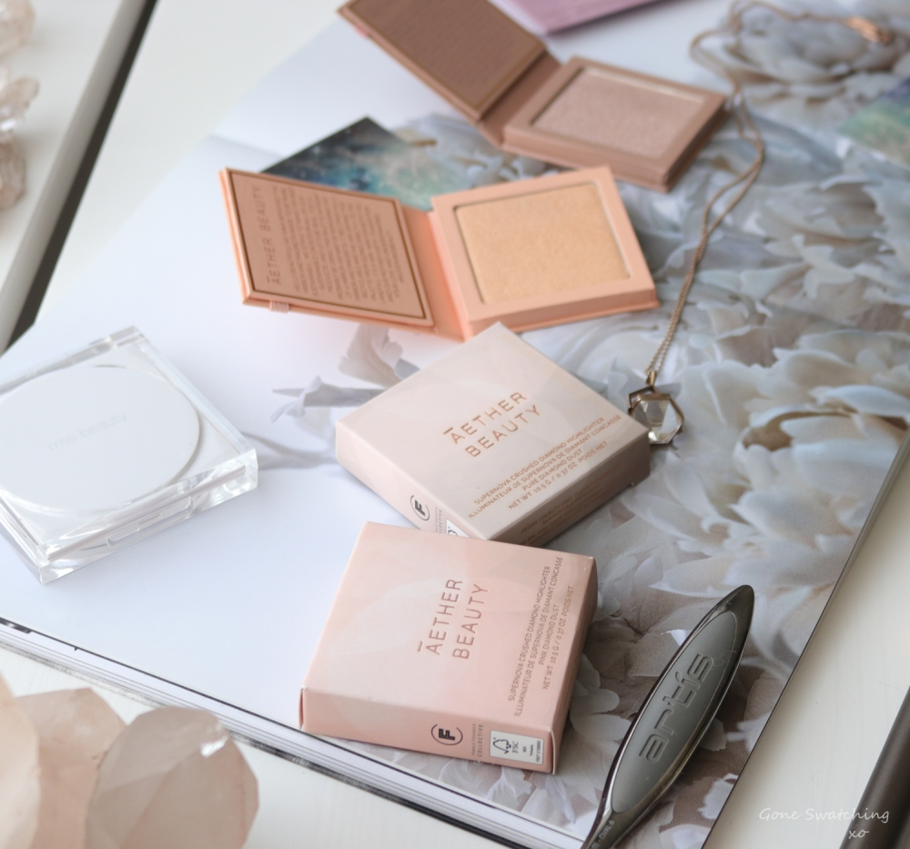 Aether Beauty Supernova Highlighter Swatches on Asian Skin tone. Green & Clean Beauty Blogger. Gone Swatching xo