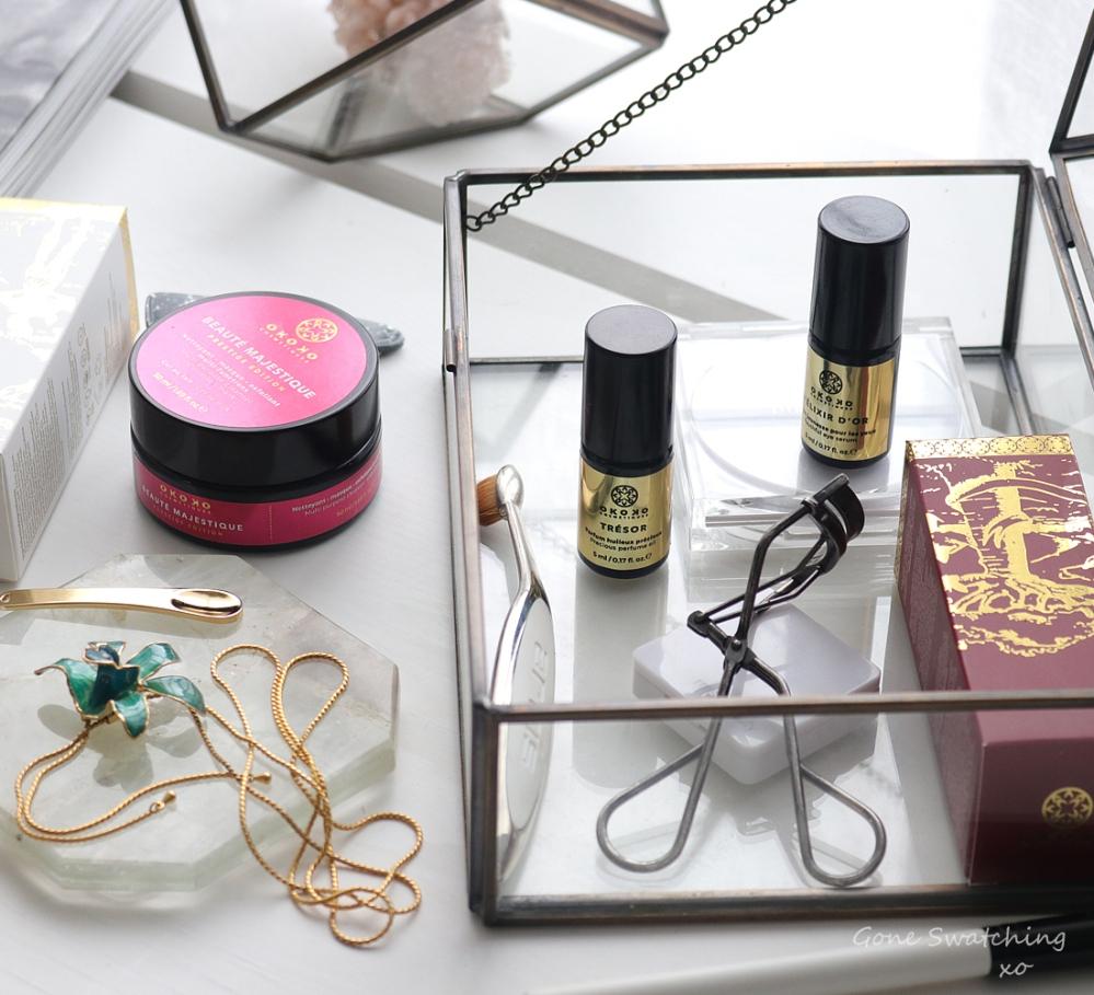 Okoko Cosmétiques Review - Beauté Majestique Cleanser & exfoliant, Elixir D'or & Tresor Perfume Oil. Green Organic Beauty Blogger Gone Swatching xo
