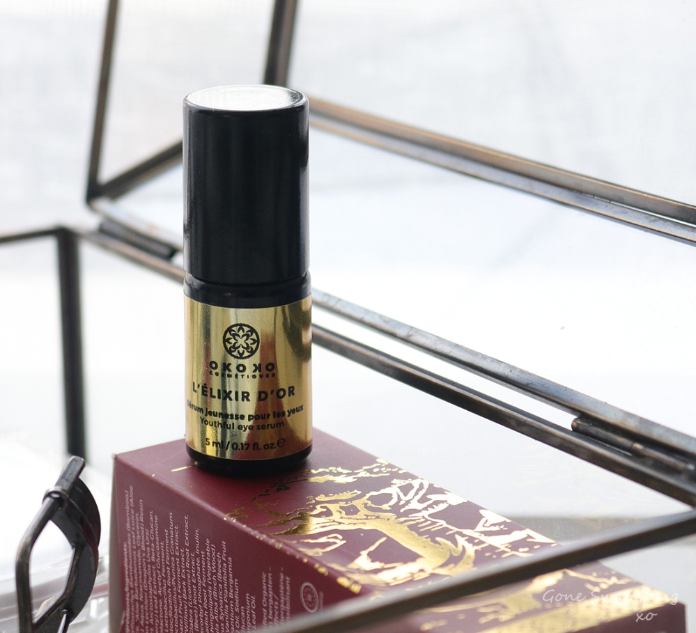 Okoko Cosmétiques Review - Elixir D'Or. Youthful Eye Serum for Puffy Eyes, Fine Lines & Dark Circles. Gone Swatching xo
